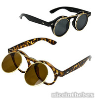 Wholesale Women s Mens Retro Style Flip Up Round Steampunk Sunglasses
