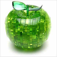 Wholesale Adults kids toys red green Cute D crystal apple jigsaw lover friends gifts d puzzle child educational toys diy games