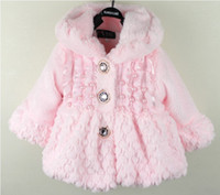 Girl Winter 2-5years Free shipping 3pcs lot baby girls the fine fur coat Kids Children Clothes with Pearl decoration Outerwear Jackets Autumn Winter ko-pi