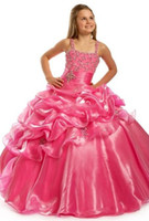 Wholesale Top selling Beautiful Ball Gown Hot pink Flower Girl Dresses Spaghetti Girl s Pageant Dresses Charming Party Dress OK