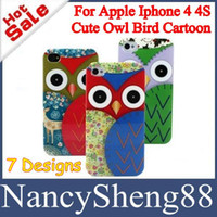 For Apple iPhone Plastic Owl Bird Cartoon Faceplate Plastic Case 1PC Low Price Cell Phone Case for Iphone 4 4G 4S Cute Cartoon Owl Head Design Owl Bird Hard Plastic Back Cover Case 7 Designs [IP4-05]