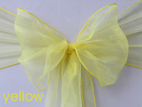 Wholesale Wedding Party Banquet Chair Organza Sash Bow Yellow color new