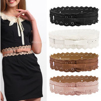 Standard Standard PU Woman Lady Elegant Leather Hollow Flower Lace Waist Belt Waistband