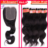 Wholesale 1Pcs Lace Top Closure Hair Density With Peruvian Virgin Hair Weaves Body Wave Unprocessed Hair Wavy Human Hair Natural Black