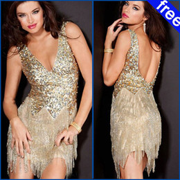 Wholesale 2013 Fashion Custom Made Sexy Off shoulder V line Feather Sleeveless Zipper Short Party Dress Cocktail Dress Gold Sequins Tulle Dress