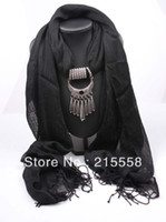 Wholesale Fashion Linen Scarf Beautiful Lady Jewelry Pendant Scarf Necklace Mixed Colors