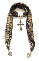 Wholesale Fashion Crystal Cross Jewelry Pendant Leopard Scarf Animal PrintNecklace Scarves Mixed Colors PC