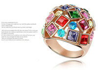 Wholesale Hot Sales K Gold Plated Multicolor Crystal Finger Rings Jewelry