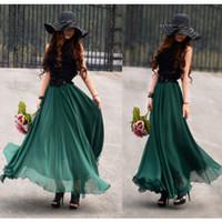 Wholesale 16 colors Hot Fashion Bohemia women s chiffon skirts ruffle beach party dress long maxi dress Strapless dress popular dress pleated skirt