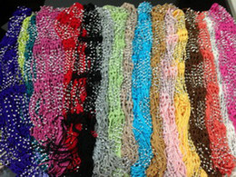 Wholesale Crocheted Bling Rhinestone Beaded Colorful Knitted Scarf Belt Shawl Wrap