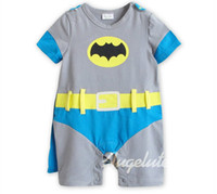 Boy Summer 100% Cotton 2013 Summer newborn flat angle rompers new style Batman all cotton Short sleeve boys jumpsuits baby clothes gray 3size 6pcs lot XR573