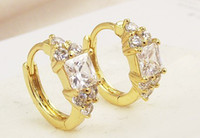 Wholesale white diamond yellow gold earings
