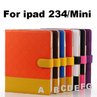 Wholesale 10pcs Luxury Smart Woven Pattern Collision Color Magnetic Stand Folio PU Leather Case Cover For New iPad ipad mini Tablet PC