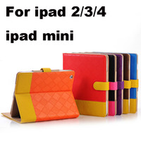 Wholesale 50pcs Fashion Smart Woven Pattern Collision Color Magnetic Stand Folio PU Leather Case Cover For New iPad ipad mini Tablet PC