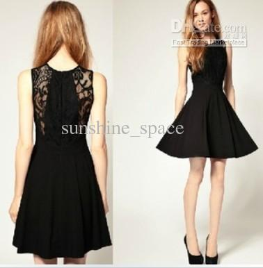 European Style Lace Dress Cotton Dress Classic Black Dress Lace Cotton Stitching Waist Slim