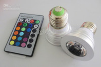 Wholesale 50pcs W RGB Color Change Bulb Light lamp with Remote Control LED spotlight Global LED light