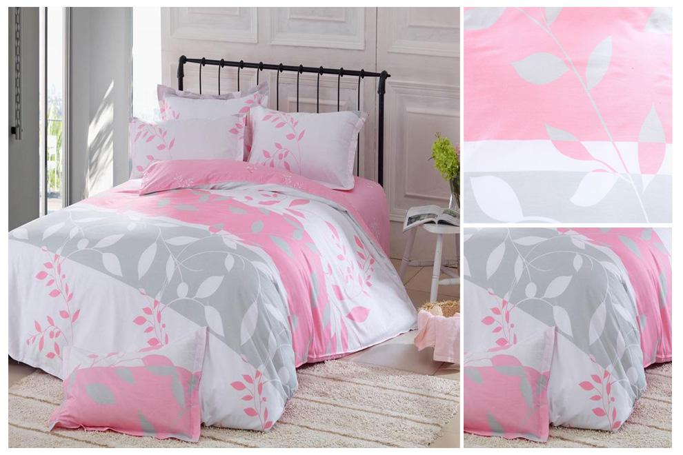 Wholesale Cotton Bedding - Buy Leaves Pattern Pink Cotton Bedding ...