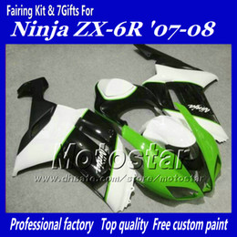 Bodywork set fairing for Kawasaki Ninja ZX-6R 2007 2008 ZX6R 07 08 ZX 6R glossy black white green custom motorcycle fairings gg82