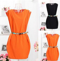 belt manufacture - 2013 Fashion CREW NECK SLEEVELESS BUTTON SHOULDER TUNIC DRESS WITH BELT A172 manufacture amp Retail