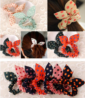 Wholesale 50 Set Fashion Mini Rabbit Ear Shaped Hair Band Decoration Small Floral Print With Polka Dots Head Bands