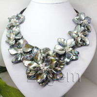 Wholesale Fashion Jewelry mother of pearl shell flower pendant necklace quot long