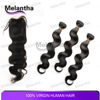 "Brazilian Hair Babyhair Natural Color 1 Piece Lace Top Closure with 3Pcs Hair Bundle 4pcs lot 100% Virgin Brazilian Hair Weft Virgin Brazilian Hair Extensions Bodywave 8""-28"""