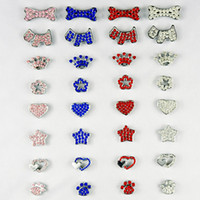 Wholesale Colorful mm Rhinestone Dog Pet Cat Charms Personalized name DIY slider Bone Foot dog crown heart