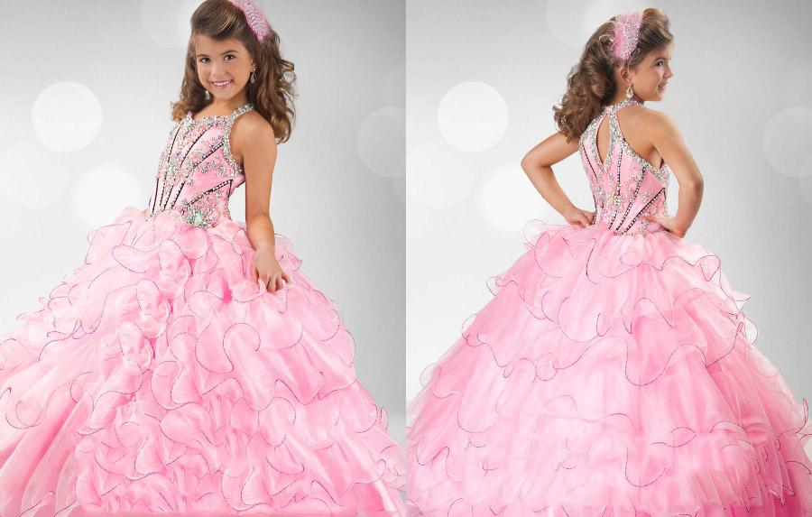 2013 custom made kids pageant dresses pink beaded little