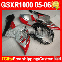 Wholesale 7gifts Fit SUZUKI K5 GSXR GSXR1000 red silver black K5 GSX R1000 silvery GSX R1000 CMF542 NEW HOT Fairing