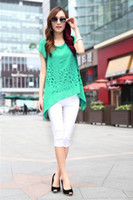 Chiffon Short Sleeve  2013 Fashion Solid Color for Summer Hollow Blouse Tops Casual Chiffon Garments for Womens Unique Elegant Korean Style Ladies Clothes XJ6-18