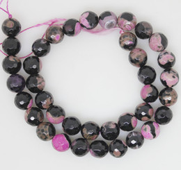 10mm purple black faceted agate loose beads gem stone strand 15'' DIY