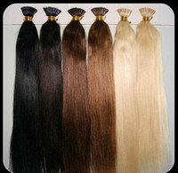 Wholesale 20 quot g Thickly Remy Stick Tip Indian Human Hair Extensions I tip Hair Extensions Jet Black g