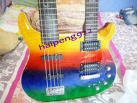 Wholesale Free Ship right hand guitar Multicolor Double Neck Strings Electric beth Bass Guitar and Strings Electric Guitars