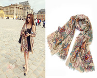 Wholesale Choking mouth peppers retro bohemian totem flowers shawl scarf long scarf shawl flow Suxia