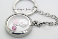Wholesale detachable L stainless steel plain glass memory magnetic locket floating charms key ring chain floating charms not included