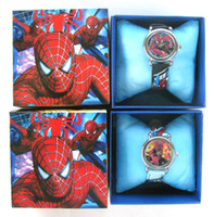 Wholesale boy s Girl s Cartoon Spiderman watch with boxes New