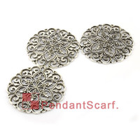 Wholesale 12PCS DIY Jewellery Scarf Findings Mental Zinc Alloy Round Plate Charm Flower Pendant Accessories AC0113