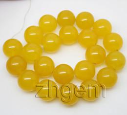 "18mm yellow malay jade round loose beads gem stone 15.5"" DIY"