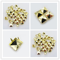 Leather craft shoes - 8mm Gold Pyramid Spikes Stud Rock Spot Bag Shoes Bracelet Leather Craft DIY