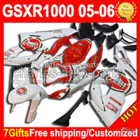 Wholesale 100 NEW HOT gifts Fit SUZUKI GSXR1000 K5 GSX R1000 Lucky Strike GSXR GSX R1000 Red White K5 CMF455 Fairing