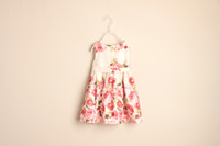 Baby girl kids rose floral dress flower dress COTTON lace ru...