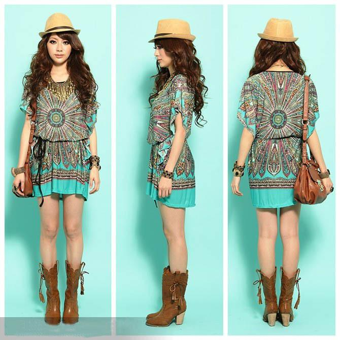 New Fashion Ladies' Vintage Peacock Print Bohemian Mini Loose T ...