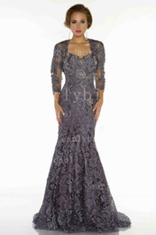 Wholesale 2015 Fall Mother Of The Bride Dresses Bateau Long Sleeve Elegent Applique Lace Mermaid Vintage Evening Dresses With Lace Bolero D