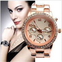 Wholesale 2013 Men s diamond Wristwatch Stainless Steel watches Calendar Shiny Business watch for men date Quartz watch colors round dial rose gold