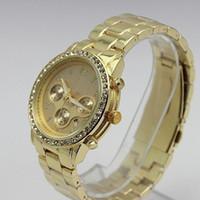 Fashion Men's Quartz-Battery Men's diamond Wristwatch Stainless Steel watches Calendar Shiny Business watch men date Quartz watch 5 colors round dial gold 5pcs lot