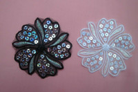 Wholesale Black whte Lace Applique patch with sequin cm diy sewing craft supply