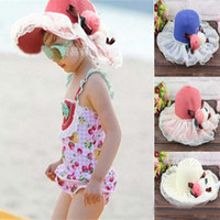 Girl Summer Visor Girls Sun Hat Fashion Falbala Princess Basin Cap Bucket Hat Straw Hat Baby Sunbonnet Children's Summer Bucket Cap With Flower Wide Brim Hats