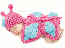 Wholesale Kids Crochet Knit Hat Fashion Butterfly Wraps Children Cap Hand Knitted Caps Baby Woolly Vest Infant Cute Wool Wraps Toddlers Crochet Hats
