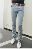 Wholesale Fashion Men s Jeans Casual Denim New Designer Brand Light Washing Mill White Elasticity Slim Fit For Men Jeans K208