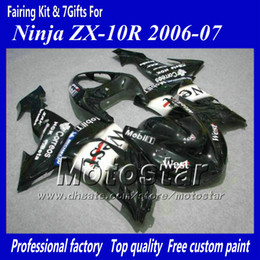 7 Gifts abs fairings for Kawasaki Ninja ZX-10R 2006 2007 ZX10R 06 07 ZX 10R black West motorcycle fairings jj12